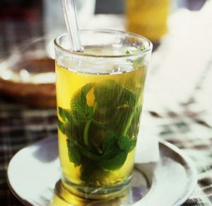 Green tea and mint leaf