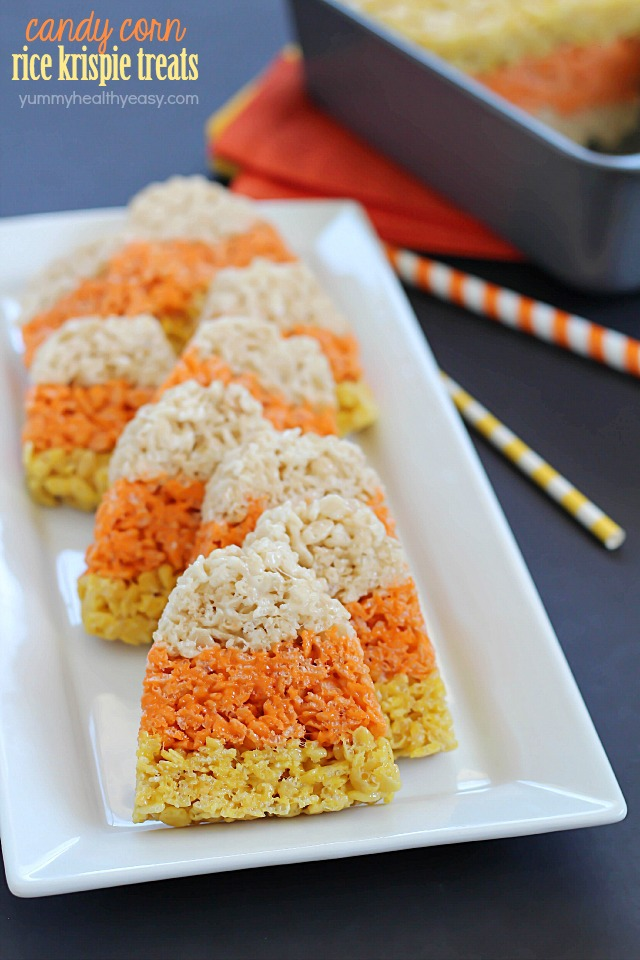 Candy Corn Rice Krispie Treats are a fun Halloween tradition!