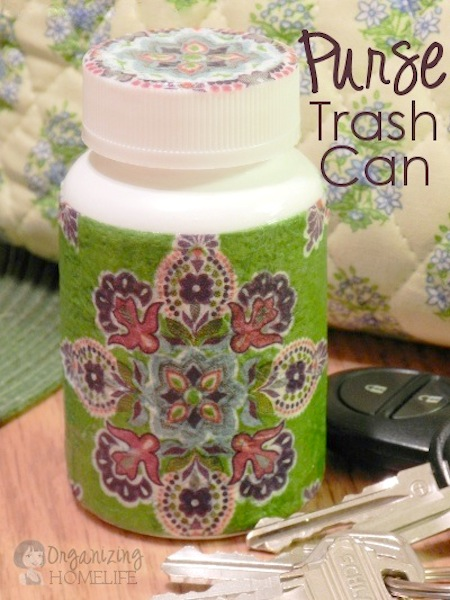 A small DIY trash can for your purse