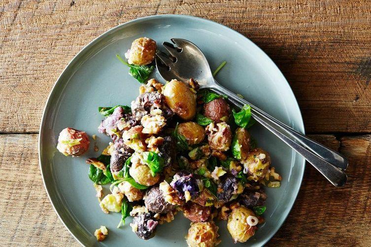 roasted potato walnut salad